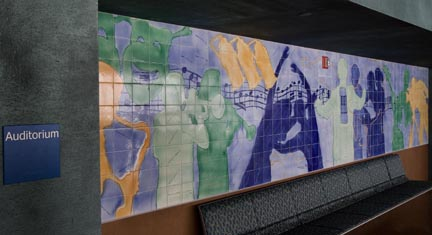 Performing Arts Center Lobby Ceramic Tile Mural by George Woideck of Artisan Architectural Cermaics